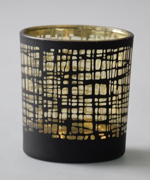 Teelicht Nest, Schwarz, Gold, S