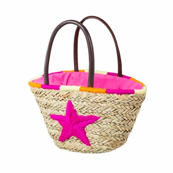 Korbtasche kleiner Stern, Pink