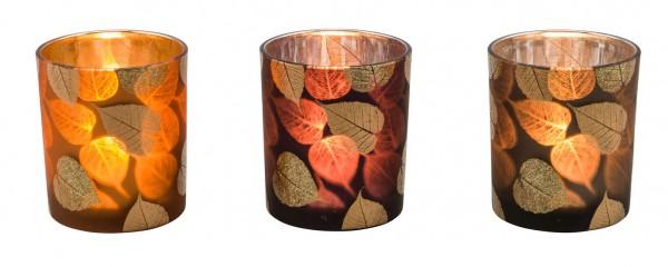 """Teelichtglas """"Blätter"""", Orange, M"""