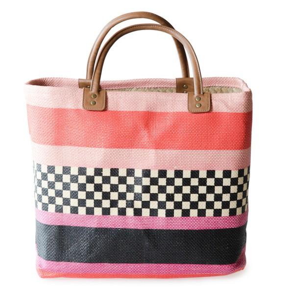 Korbtasche rosa mit Muster