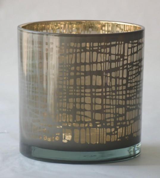 Windlicht Nest, Grau/Gold, L