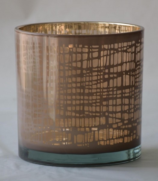 Windlicht Nest, Rosa/Gold, L