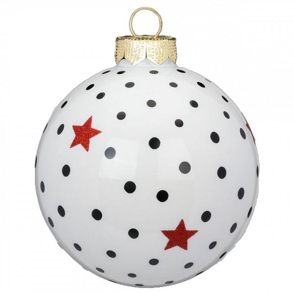 """Weihnachtskugel """"Punkte"""" weiß"""