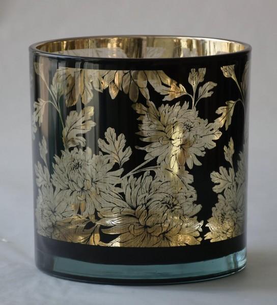Teelicht Flower, Schwarz, L