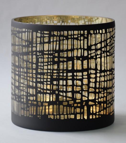 Windlicht Nest, Schwarz,Gold, XL