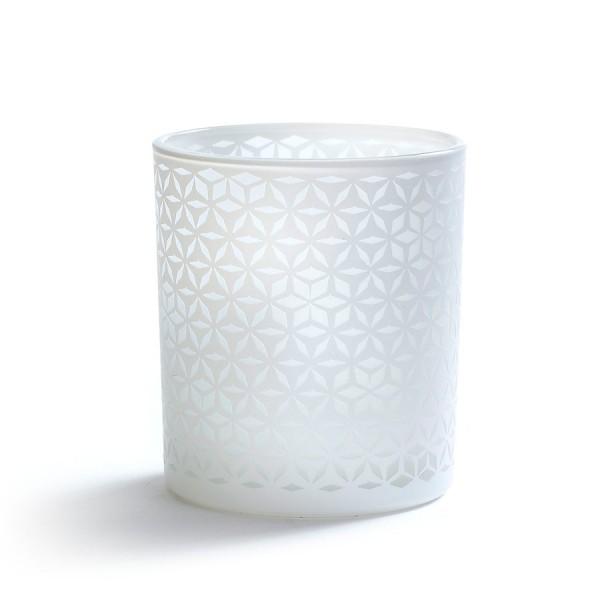 Glas Teelichthalter, White Christmas, weiß