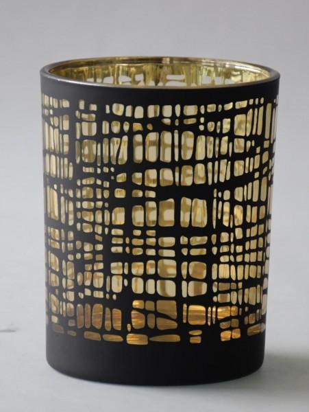 Teelicht Nest, Schwarz,Gold, M