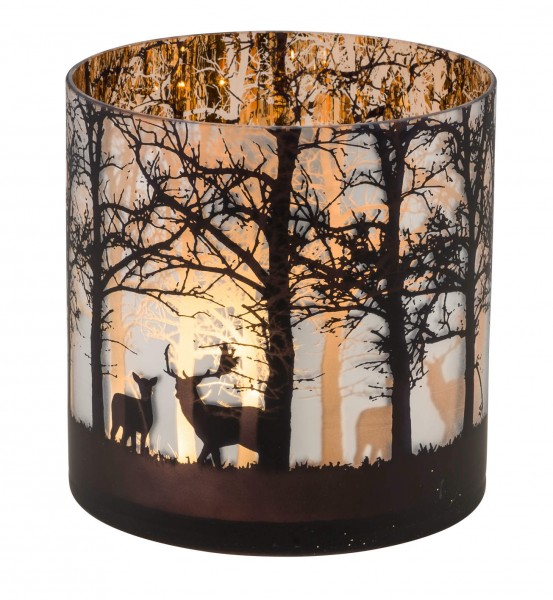 """Windlichtglas """"Wald und Rehe"""", L"""