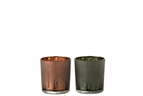 """Teelicht """"Gras"""", Bronze, S"""