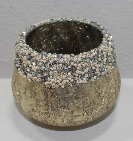 Teelichthalter Perlenrand, S