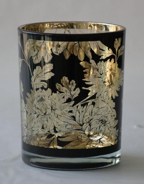 Teelicht Flower, Schwarz, M