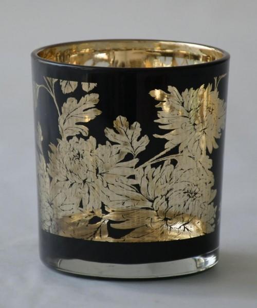 Teelicht Flower, Schwarz, S