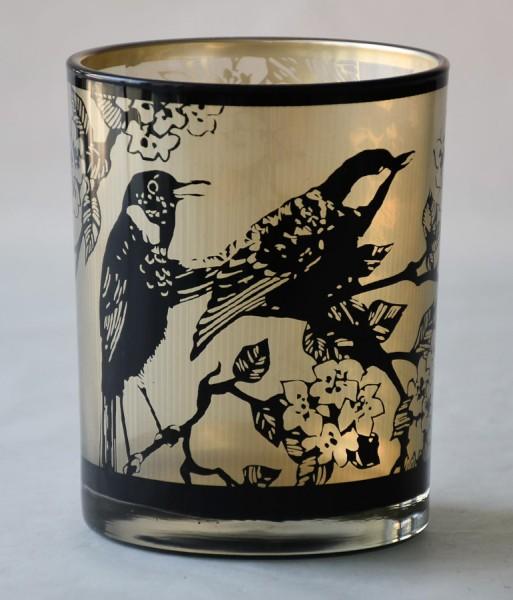 """Glas Teelicht """"Birds"""""""