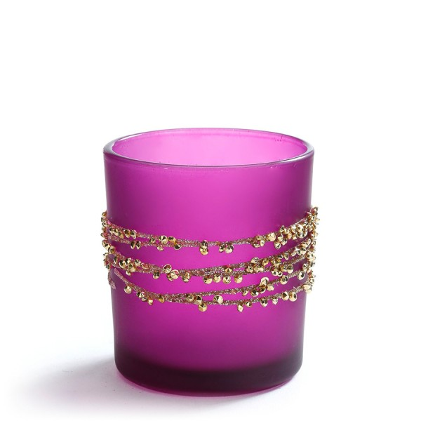 Glas Teelichthalter, Rich and Glorious, Pink