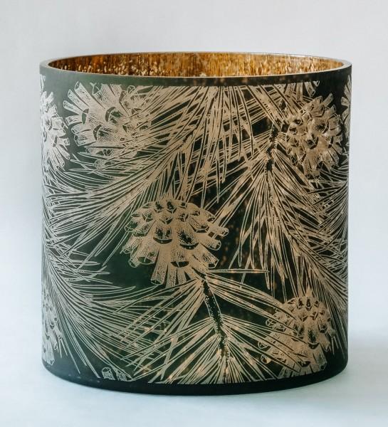 Teelicht Pine & Cones, grün-gold