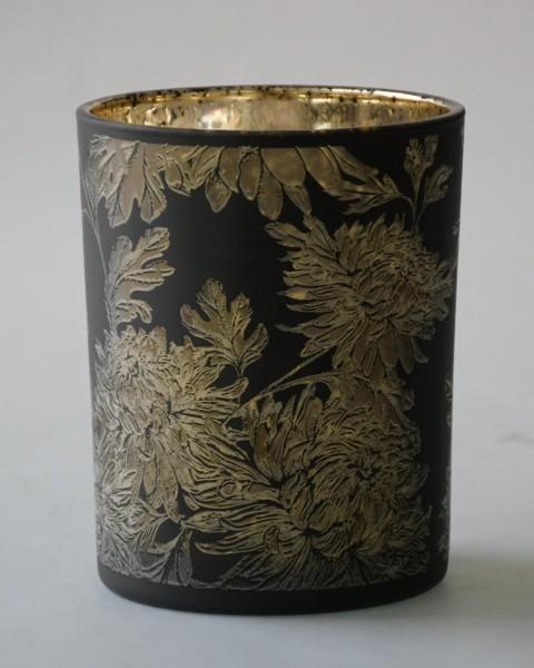 Teelicht Flower, Schwarz Matt, M