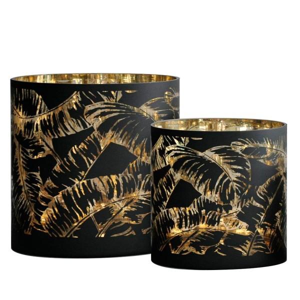 """Windlicht """"Palms"""" schwarz/gold"""