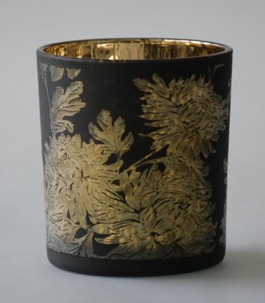 Teelicht Flower, Schwarz Matt , S