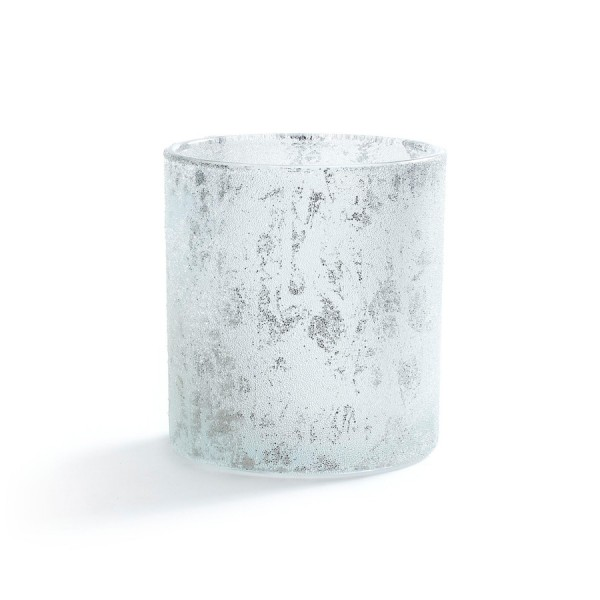 Glas Teelichthalter, White Christmas, glitzer