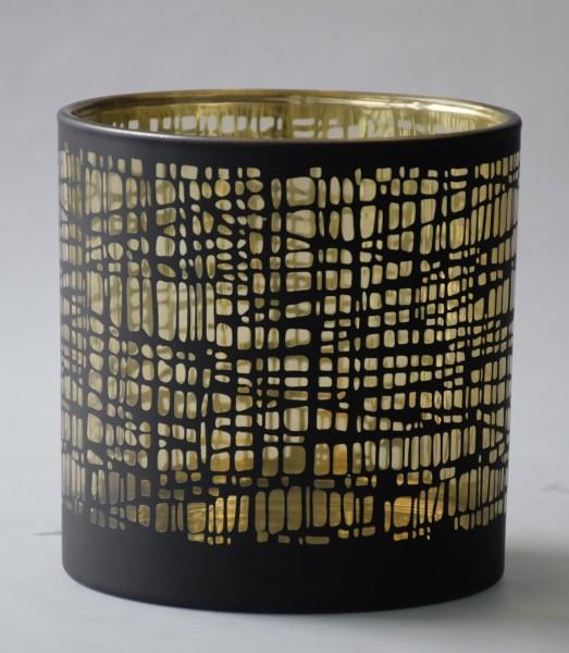 Teelicht Nest, Schwarz, Gold, L