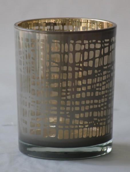 Teelicht Nest, Grau/Gold, M