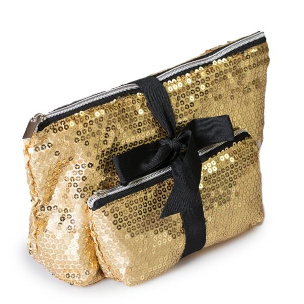 2er Set Kosmetiktasche Pailetten-Zauber / Gold