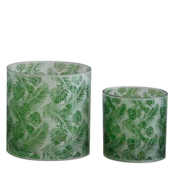 """Teelicht """"Palms"""" grün"""